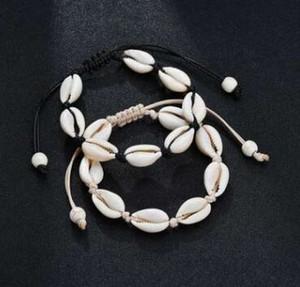 Venta caliente pulsera hecha a mano de punto Seashell natural de la mano Conchas pulseras Mujeres Accesorios pulsera de cuentas Strand