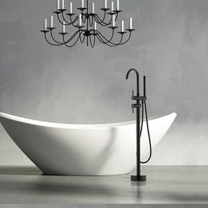 New Black Luxury banheiro Floor Stand Torneira Do Chuveiro De Bronze Banheira Mixer Torneira Da Banheira Torneira Set Preto