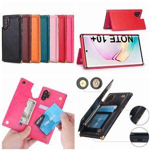 Carte d'identité de poche fente cas pour Samsung Note 10 S9 S10 S10 plus de luxe placage en cuir PU souple TPU Chromé Support à Phone Housse peau