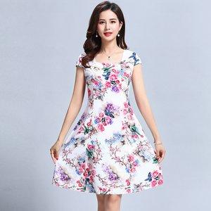L-5xl 2018 kadın Giysileri Çiçek Baskı Bağbozumu Elbise Artı Boyutu Kısa Kollu Kare Boyun Rahat Tarzı Elbiseler Vestidos De Festa Y190514