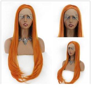 Имбирь Оранжевый волос парики высокой температуры волокна Silk Straight Synthetic 13 * 4 фронта шнурка с младенцем для волос женщин Свободный корабль