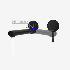 Матовый черный хром Поворотный смеситель для ванной комнаты для ванной комнаты Латунный настенный смеситель для воды