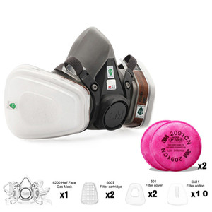 7 in 1 6200 Industrial Half Face Painting Spraying Respirator Gas Mask Suit Safety Work Filter Dust Mask Replace Three M