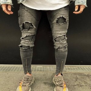 Dropshipping Knee Ripped Jeans Men Super Skinny Ankle zipper Men Jeans Elastic Pant Designer Brand Clothing Street