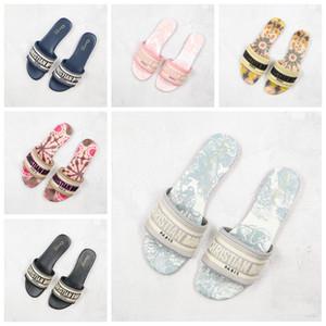20SS DWAY MULA tela de Jouy bordado sandalias de rayas blooms tobogán de la piscina de lujo para mujer chanclas mocasines de zapatillas para las mujeres desgastes Diapositivas