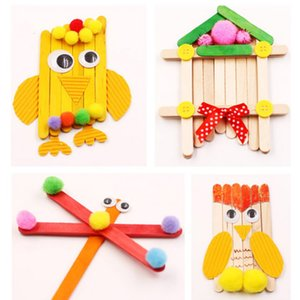 50Pcs Lot Colored Wooden Popsicle Sticks Natural Wood Ice Cream Sticks Kids DIY Hand Crafts Art Ice Cream Lolly Cake Tools
