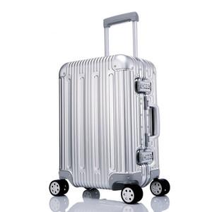 مصمم -100 ٪ الأمتعة المعدنية سبائك الألومنيوم حمل إضافات المتداول الأمتعة حقيبة عالية القوة حقيبة TSA إفتح الفضة 20 بوصة