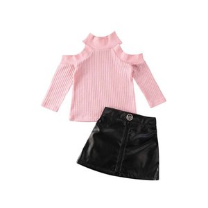 2020 Baby Spring Autumn Clothing 2PCS Toddler Kids Baby Girls Long Sleeve Cutout Turtleneck Tops PU Mini Skirt Outfits Clothes