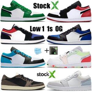 Stockx минимум 1 1С всячески препятствовать УНК лазер синий суд фиолетовый мужской баскетбол Обувь женская зеленая сосна Дольд королевский черный носок дизайнер обуви кроссовки