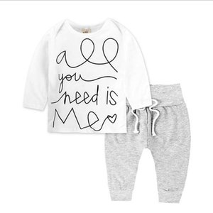 baby boy girl clothes,cotton Long sleeve T-shirt white+pants,2 pcs children clothing floral,toddler girls suit for Spring autumn CY200515