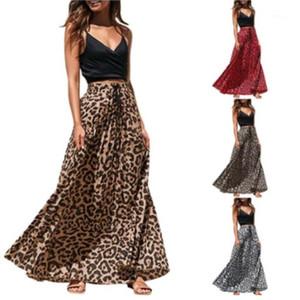 Moda Mujeres Faldas Ropa Pleuche la impresión del leopardo de las mujeres Faldas diseñador una línea casual faldas de colores naturales