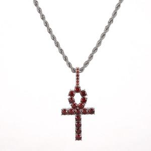 Cobre Plata helado circón rojo Ankh Cruz colgante de oro de material CZ Llave egipcia del collar de la vida pendiente de mujeres de los hombres joyería de Hiphop