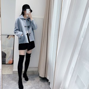 WT800DF off-season Coat Horn closed eye beat wool particle suede wool integrated horn buckle coat