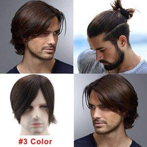 Замена Новый Мужчины парик Одноразовые Toupee индийский Реми волосы супер тонкая кожа Система волос