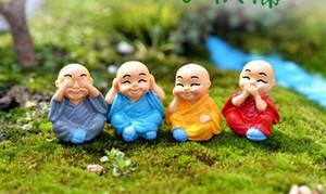 40sets Minyatür Monks heykelcik Bonsai Dekor Mini Peri Bahçe çizgi film karakteri Modeli hayvan Reçine zanaat süsler keşiş 4 ~ 5 cm