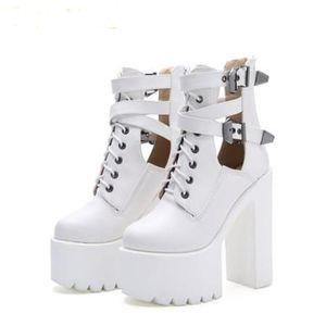 2019 Mode Frauen Gothic Stiefel Schnürstiefeletten Patchwork Plattform Punk Schuhe Ultra Sehr High Heel Bootie Block Blockabsatz