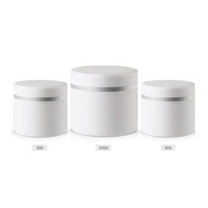30g 50g 100g Cream Jar، طبقة مزدوجة ، حاوية مكياج من البلاستيك الأبيض ، صندوق مستحضرات التجميل PP Sample