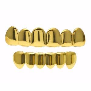 Diş Grillz Takı Unisex Moda 18 K Altın Kaplama Vücut Takı Toptan Hip Hop Çevre Bakır Diş Parantez 2-piece Set LP018