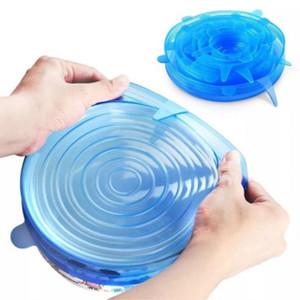 In 6Pcs calcio regolabile coperchi della copertura del silicone Stretch universale riutilizzabile Fresh Keeping Saver Pot Piatto Bowl Accessorio da cucina
