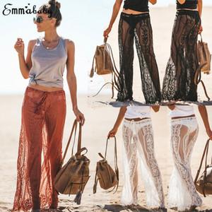 Kadınlar dantel yaz plaj pantolon see through see through Kadınlar Dantel Çan Dipleri Flare Pantolon Orta Waisted Geniş Bacak Uzun Pantolon