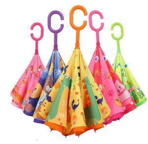 9style Çocuk Karikatür Hayvan Şemsiyeler Çocuk C Tipi Ters Şemsiye Çift Katmanlı Rüzgar kesici Şemsiyeler Açık Balıkçılık Şemsiye GGA3534