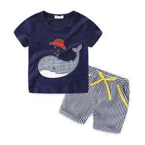 Ins Verão Menino INS chapéu baleia terno tarja novas crianças dos desenhos animados de manga Curta T-shirt + calções 2 pcs terno conjuntos de roupas de bebê ST239