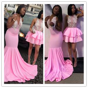 Halter Neck Sexy Pink Mermaid Prom robes 2K18 robes de soirée Homecoming courte et longue Custom Made Black Girl soirée africaine porte smokings