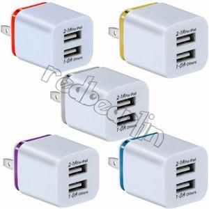 Dual-USB-Ladegerät für Iphone 7 8 x Samsung S9 S10 S8 2 USB-Ladegerät 5V 2.1A 1A Metal Travel Adapter US EU-Stecker Wechselstrom-Adapter