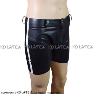 Black With White Trims At Sides Sexy Latex Boxer Shorts With Strings Fetish Rubber Boy Shorts Underpants Underwear Bondage Pants DK-0115