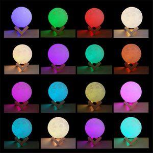 Halloween cadeau 3D Moon Lamp USB LED Light Night Moonlight Touch 16 couleurs changeantes avec télécommande lumières de Noël