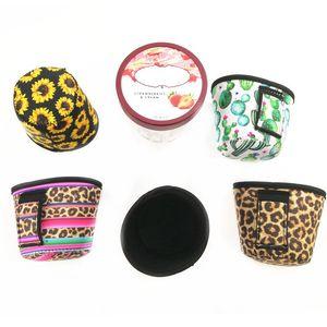 Neopren-Eiscremeabdeckung Leopard-Druck Ice Cream Halter Sonnenblume Dosenkühler Abdeckungen Neopren Can Abdeckung