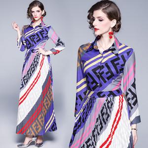 2020 primavera nuevo vestido de manga larga de gama alta vestido plisado elegante de la manera Mujeres Vestidos Maxi vestido de noche