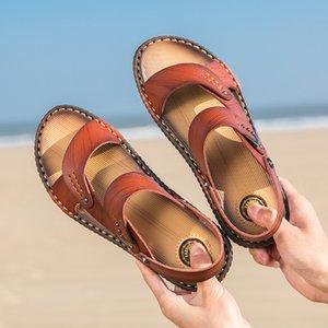 NTK Hommes Sandales en cuir véritable de 2019 extérieur été confortable à double usage Chaussons Homme Chaussures de plage Sandales homme Trekking 6622