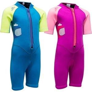 2mm Neoprene Wetsuit Boys Girls Surfing Warm Swim pool Kids beach vacation gear Diving Short sleeve Front zipper Anti Jellyfish