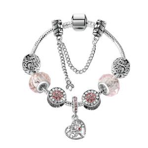 17-21CM Charm Bracelet 925 Silver Bracelets Life Tree Pendant Charms Bead Bangle snake chain as Christmas Gift Diy Jewelry Accessories