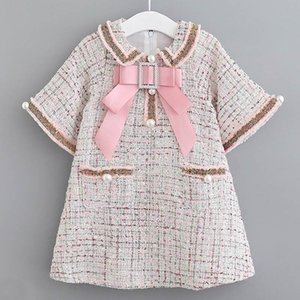 Girls Dress Elegant Baby Autumn Winter Kids Plaid Dress Bow Pearl Pocket Girls Princess Clothes Toddler VestidosbMVg#