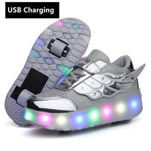 wheels Orange USB Charging Fashion Girls Boys LED Light Roller Skate Shoes For Children Kids Sneakers With Wheels Two