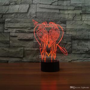 Doppel Parrot Lovers 3D-Illusion Nachtlicht-Touch 7 Farbwechsel Home Decor Baby-Jungen-LED-Lampe-Kind-Geschenk Weihnachten Weihnachtsgeschenk