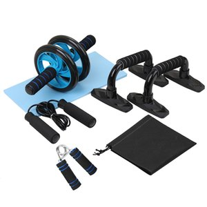 5-In-1 AB Wheel Roller Kit with Push-Up Bar Jump Rope Hand Gripper Abdominal Core Fitness Workout