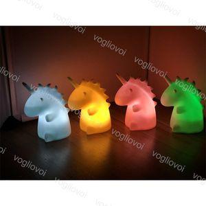 밤 빛 유니콘은 순수한 흰색 비닐 PVC 침대 옆 램프 수지 아기 보육 침실 테이블 장식 조명 크리스마스 선물 DHL을 LED