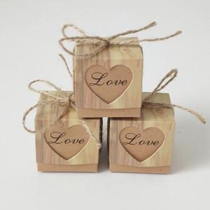 Caixa de doces Romântico Coração Kraft Saco Do Presente Com Fio De Serapilheira Chic Favores Do Casamento Caixa De Presente Suprimentos 5x5x5 cm