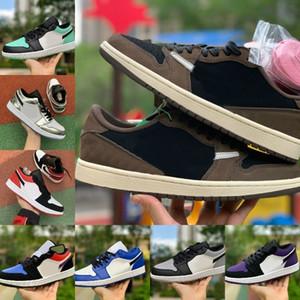 2019 Nike Air Jordan 1 retro jordans Low Travis Scotts Zapatillas de baloncesto Turbo Green Origin Story Gs Banned NRG X Union Retroes 1s Unc White Blue Low Zapatillas
