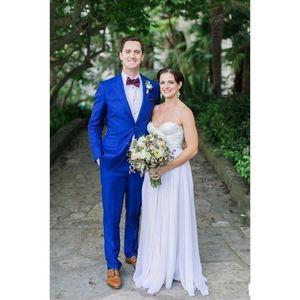 Belo entalhado lapela Royal Blue Mens ternos traje Hommes Mens Weeding Ternos ternos do noivo Terno Prom Blazer Jacket Men 2 Pieces