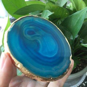 altın kaplama dantel mineral trim 1 adet doğal akik Geode parçası izole bardak kristal kurulu açık yeşil akik bardak