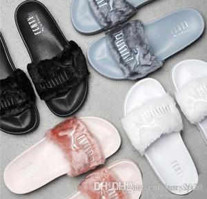 2019 Leadcat Fenty Rihanna Shoes Women Slippers Indoor Sandals Girls Fashion Scuffs Pink Black White Grey Fur Designer Slides High Quality