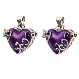 2pcs esmalte da flor do amor Vintage Mimi coração Box Openable Cremação lembrança Urn Memorial Pendant Jewelry - roxo