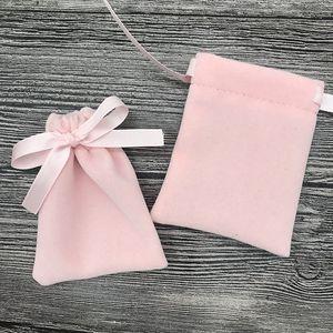 Rosa franela Bundle Pocke terciopelo joyería linda dulce bolsa de embalaje pulsera del collar de la gota de maquillaje con asas