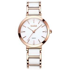 OLEVS nuevo negro / blanco Correa de cerámica Elegante Relojes de Cuarzo Diamante Cronógrafo de las mujeres a prueba de agua Reloj dama de moda reloj de pulsera reloj de regalo
