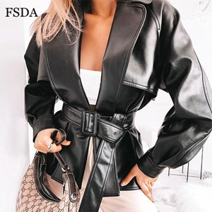 FSDA con cintura nera PU Faux Leather Jacket Donna Autunno Inverno Coat Sashes Windbreaker Lady Streetwear casual gira giù