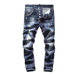 Mens Casual jeans Biker Jeans High end Knee Hole hip hop Ripped printing Pants High quality mens pants